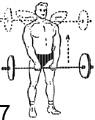 7-е упражнение со штангой в картинах: Тяга штанги к подбородку и груди.